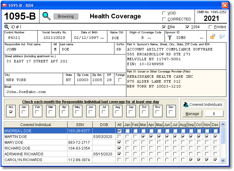1095 B 1094 B Aca Software Includes Electronic Reporting And Plain