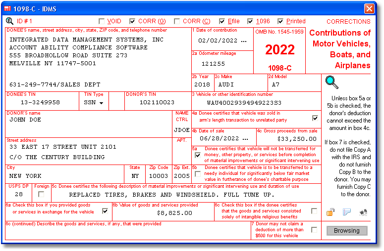 1098 C Software With Electronic Reporting And Irs Tin Matching