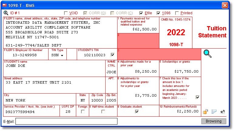 1098-T Software with Electronic Reporting and IRS TIN Matching