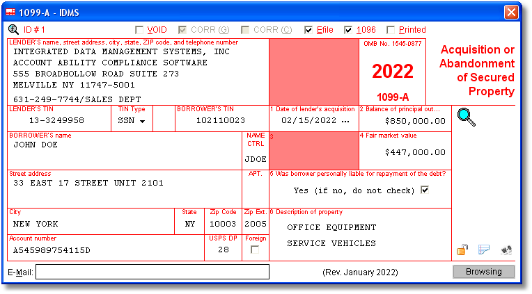 1099-A Software with Electronic Reporting and IRS TIN Matching