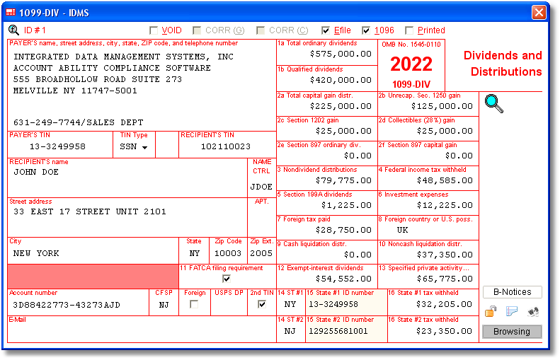 1099 Div Software With Electronic Reporting And Irs Tin Matching