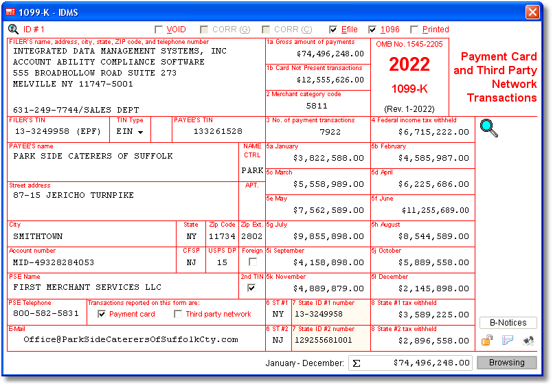 1099 K Software With Electronic Reporting And Irs Tin Matching