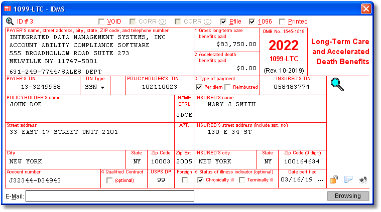 1099LTC Software to Create, Print & E-File Form 1099-LTC