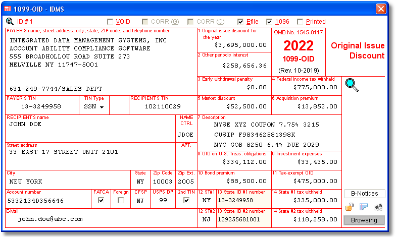 1099 Oid Software With Electronic Reporting And Irs Tin Matching