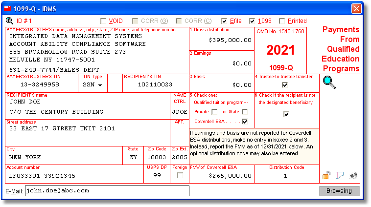 Account Ability's 1099-Q Software