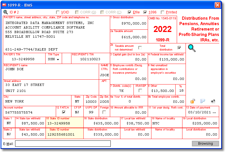sample 1099-r form filled out  10-R Software to Create, Print & E-File IRS Form 10-R