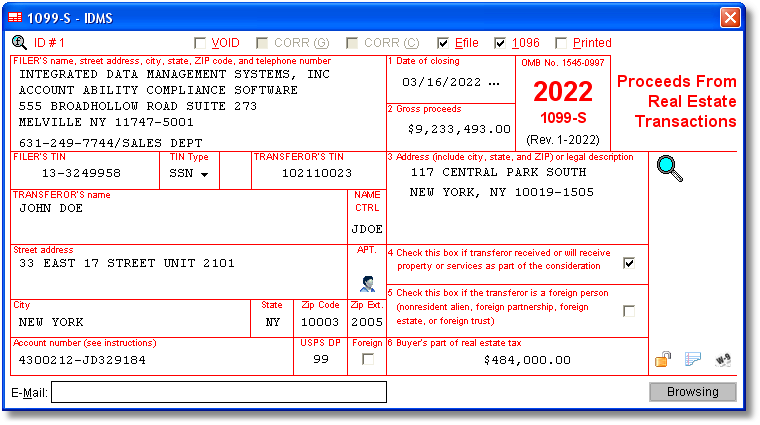 1099 S Software With Electronic Reporting And Irs Tin Matching