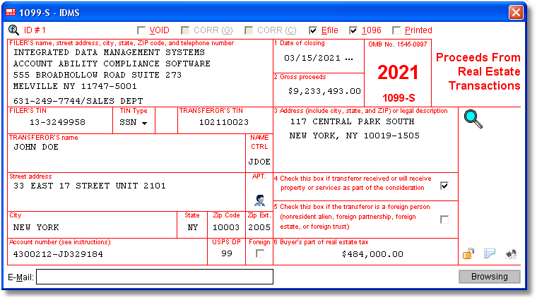 1099S Software to Create, Print & E-File Form 1099-S