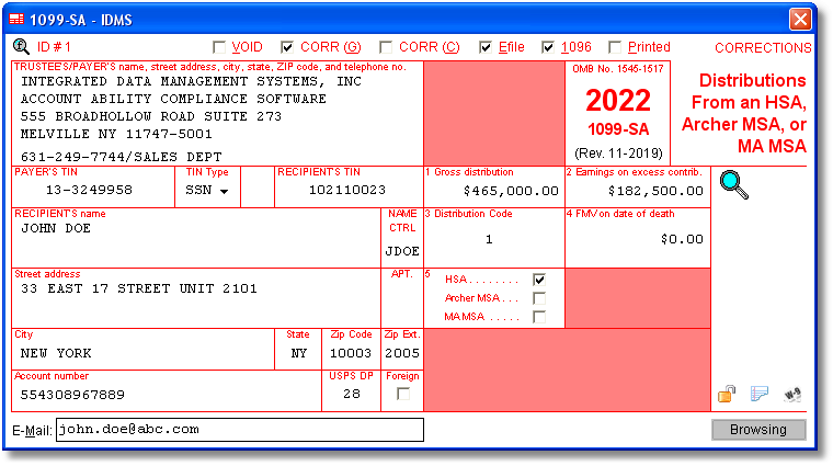 1099 Sa Software With Electronic Reporting And Irs Tin Matching