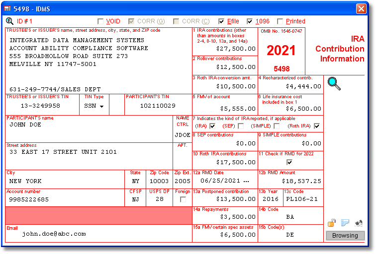 5498 Software With Electronic Reporting And Irs Tin Matching