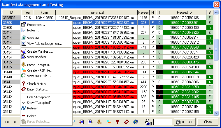 The Manifest Management and Testing dialog manages all of your client's 1094/1095 submissions from a central window.
